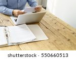 businessman checking a typed... | Shutterstock . vector #550660513