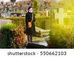 woman wearing black clothes in...   Shutterstock . vector #550662103