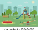 children's playground with... | Shutterstock .eps vector #550664833