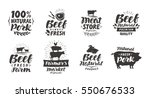 vector set of meat labels ... | Shutterstock .eps vector #550676533