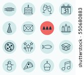 set of 16 new year icons.... | Shutterstock .eps vector #550680883