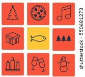 set of 9 holiday icons.... | Shutterstock .eps vector #550681273