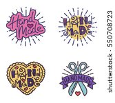 handmade needlework badge logo...   Shutterstock .eps vector #550708723