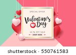 Valentines day sale background with Heart Shaped Balloons. Vector illustration.Wallpaper.flyers, invitation, posters, brochure, banners. | Shutterstock vector #550761583