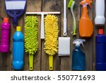 house cleaning product on wood... | Shutterstock . vector #550771693
