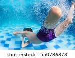 funny portrait of boy swimming... | Shutterstock . vector #550786873