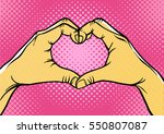 hands in heart form retro style ... | Shutterstock .eps vector #550807087
