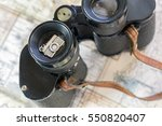 vintage binoculars and silver... | Shutterstock . vector #550820407