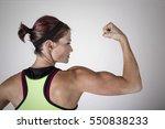 beautiful strong muscular woman ... | Shutterstock . vector #550838233