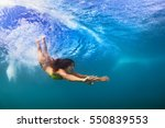 young sportive girl in bikini... | Shutterstock . vector #550839553