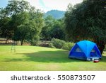 camping tent on camping green... | Shutterstock . vector #550873507