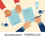 contract signing over coffee... | Shutterstock .eps vector #550901113