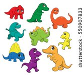 illustration of cute dinosaurs... | Shutterstock .eps vector #550907833