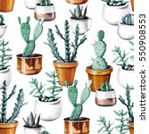 watercolor cactus in pot... | Shutterstock . vector #550908553