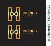 letter h infinity logo gold...   Shutterstock .eps vector #550924123