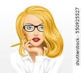 face of a pretty blonde... | Shutterstock .eps vector #550925527