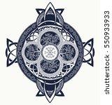 celtic cross tattoo. dragons... | Shutterstock .eps vector #550933933