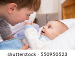 six year old toddler sharing... | Shutterstock . vector #550950523