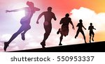 sunset silhouette of men and... | Shutterstock . vector #550953337