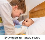 six year old toddler sharing... | Shutterstock . vector #550954297