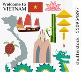 travel to vietnam. set of... | Shutterstock .eps vector #550954897