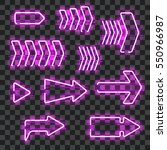 set of glowing purple neon... | Shutterstock .eps vector #550966987