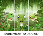 set of dinosaur with tropical... | Shutterstock .eps vector #550970587