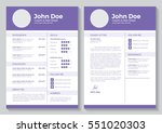 resume template for graphic and ... | Shutterstock .eps vector #551020303