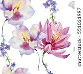 Watercolour Flowers. Seamless...