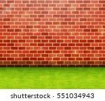 red brick wall with green grass ... | Shutterstock .eps vector #551034943
