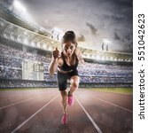 woman runs in a race to the... | Shutterstock . vector #551042623