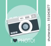 vintage camera in a flat style. ... | Shutterstock .eps vector #551043877