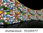 curved wall of screens | Shutterstock . vector #55104577