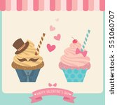 couple cupcakes for valentine's ... | Shutterstock .eps vector #551060707