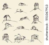 set of hand drawn rural houses  ... | Shutterstock .eps vector #551067913