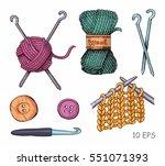 knitting illustrations. hand... | Shutterstock .eps vector #551071393