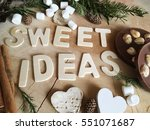 sweet ideas wooden letters with ... | Shutterstock . vector #551071687