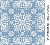 ethnic floral seamless pattern... | Shutterstock .eps vector #551072407
