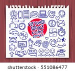 doodle customer service icons... | Shutterstock .eps vector #551086477