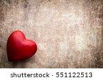 red heart on wooden background  ...   Shutterstock . vector #551122513