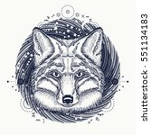 fox tattoo. symbol of a travel  ... | Shutterstock .eps vector #551134183