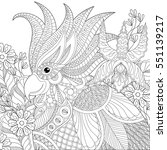 exotic zentangle cockatoo... | Shutterstock .eps vector #551139217