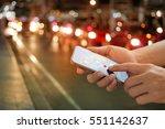 man using navigation app on the ... | Shutterstock . vector #551142637