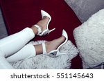 white classic high heels with... | Shutterstock . vector #551145643