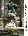 Small photo of sculptures of the giant Polyphemus surprising the lovers Acis and Galatea in Medici Fountain in Luxembourg Gardens Paris France