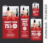 cosmetics sale banners vector ... | Shutterstock .eps vector #551186323