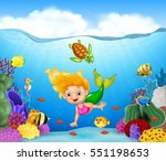 cartoon mermaid with beautiful... | Shutterstock .eps vector #551198653