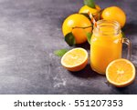 Glass Jar Of Fresh Orange Juic...