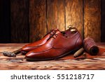 fashion derby shoes handmade... | Shutterstock . vector #551218717