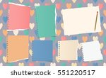 ripped ruled notebook  copybook ... | Shutterstock .eps vector #551220517